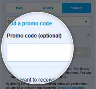Location of the William Hill promo code box